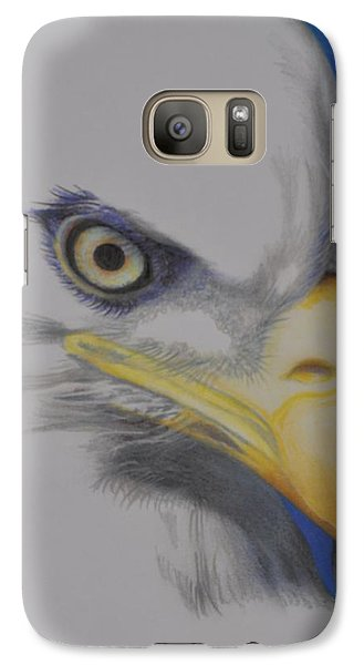 Galaxy Case featuring the drawing Focused Eagle by Linda Ferreira