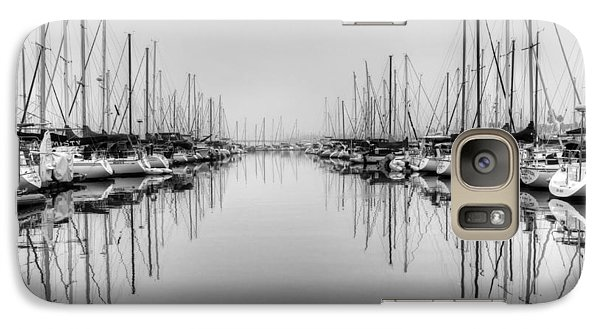Galaxy Case featuring the photograph Foggy Autumn Morning - Black And White by Heidi Smith