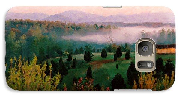 Galaxy Case featuring the digital art Foggy Blue Ridge Morning by Spyder Webb