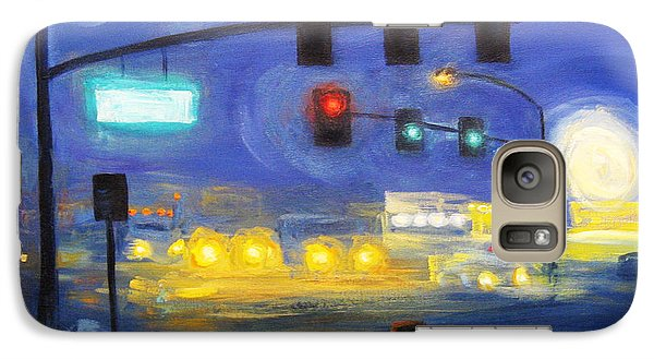 Galaxy Case featuring the painting Foggy Morning Traffic by Cheryl Del Toro