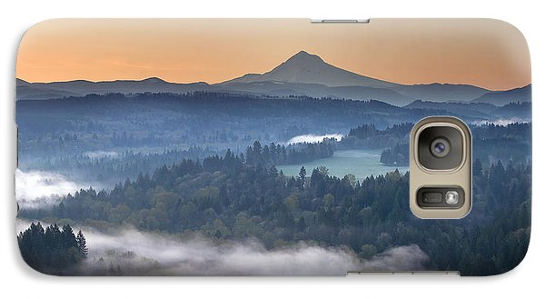 Galaxy Case featuring the photograph Foggy Sunrise Over Sandy River And Mount Hood by JPLDesigns