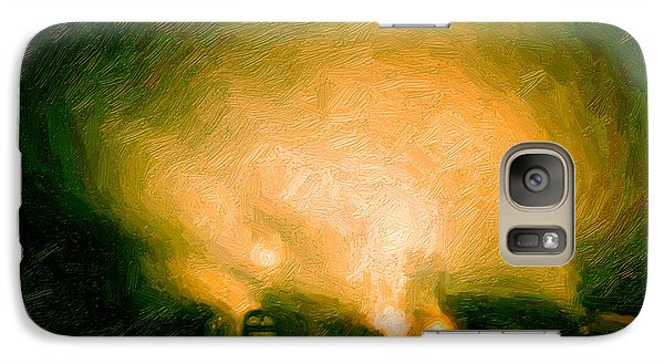 Galaxy Case featuring the digital art Foggy Switchyard by Chuck Mountain