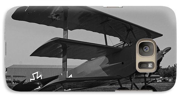 Galaxy Case featuring the photograph Fokker Dr1477 Triplane Bw by Timothy McIntyre