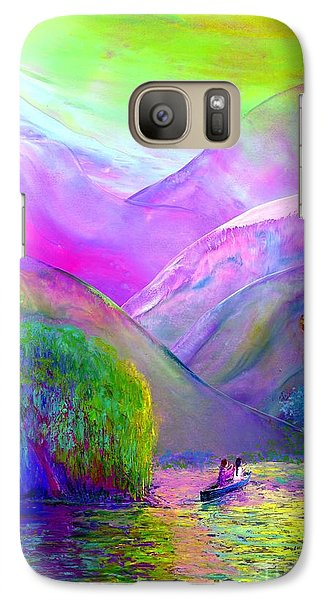 Galaxy Case featuring the painting  Love Is Following The Flow Together by Jane Small