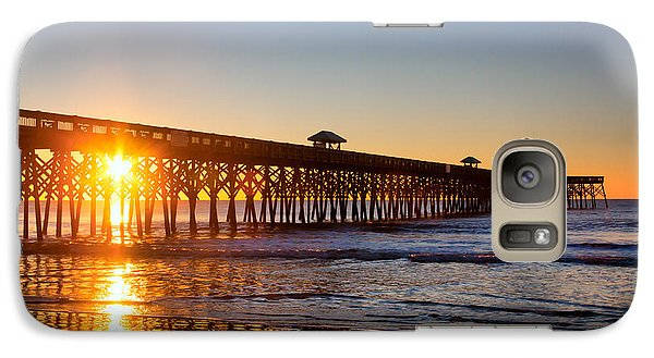 Galaxy Case featuring the photograph Folly Beach Pier At Sunrise by Lynne Jenkins