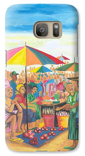Galaxy Case featuring the painting Food Market In Cameroon by Emmanuel Baliyanga