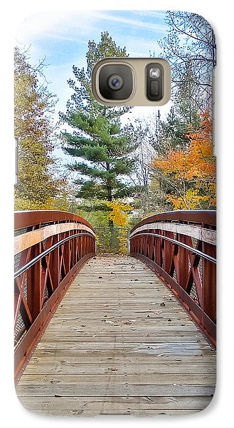 Galaxy Case featuring the photograph Foot Bridge In Fall by Lars Lentz