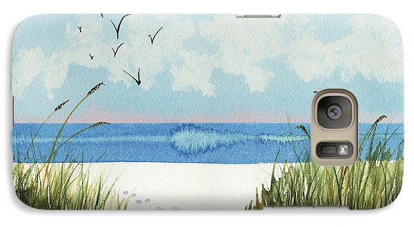 Galaxy Case featuring the painting Footprints On The Beach by Nan Wright