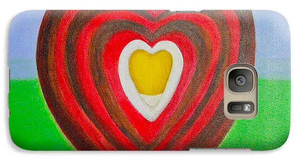 Galaxy Case featuring the painting Footsteps And Friendship And The Golden Heart by Lorna Maza