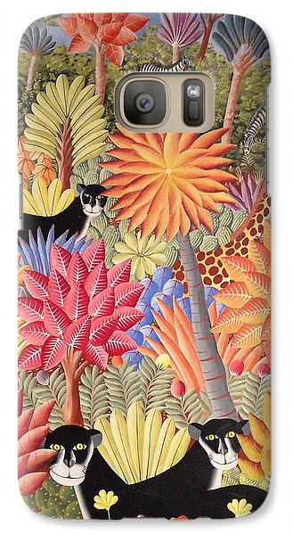 Galaxy Case featuring the painting Forest With  Black Panthers by Haitian artist