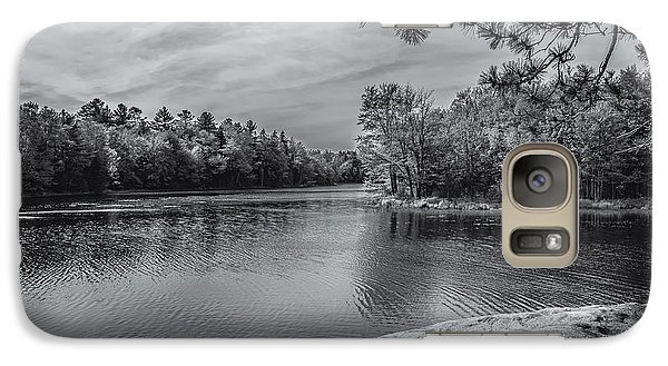 Galaxy S7 Case featuring the photograph Fork In River Bw by Mark Myhaver