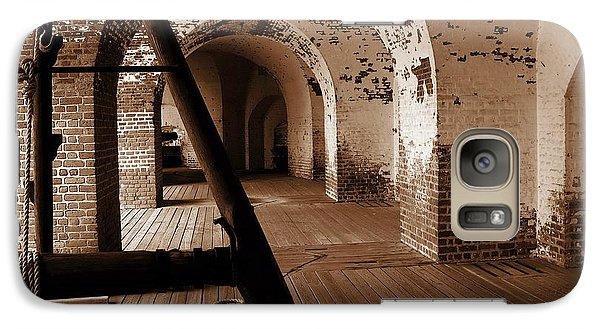 Galaxy Case featuring the photograph Fort Pulaski Arches Sepia by Jacqueline M Lewis