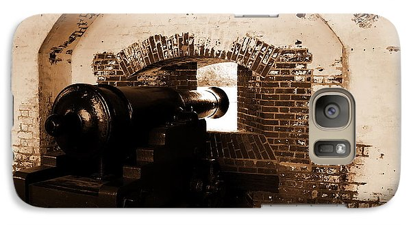 Galaxy Case featuring the photograph Fort Pulaski Canon Sepia by Jacqueline M Lewis