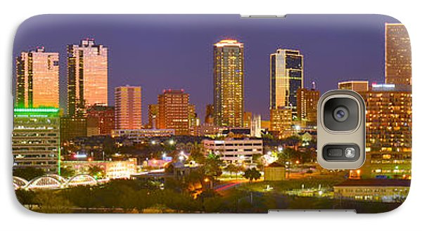 Galaxy Case featuring the photograph Fort Worth Skyline At Night Color Evening Panorama Ft. Worth Texas by Jon Holiday