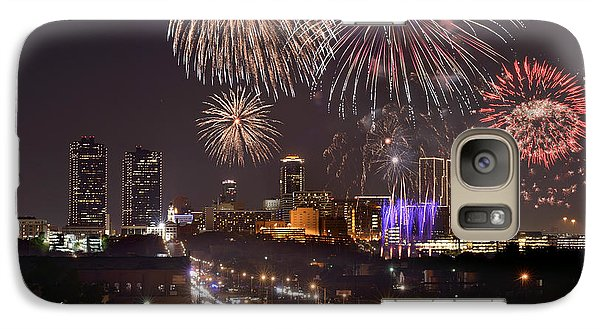 Galaxy Case featuring the photograph Fort Worth Skyline At Night Fireworks Color Evening Ft. Worth Texas by Jon Holiday