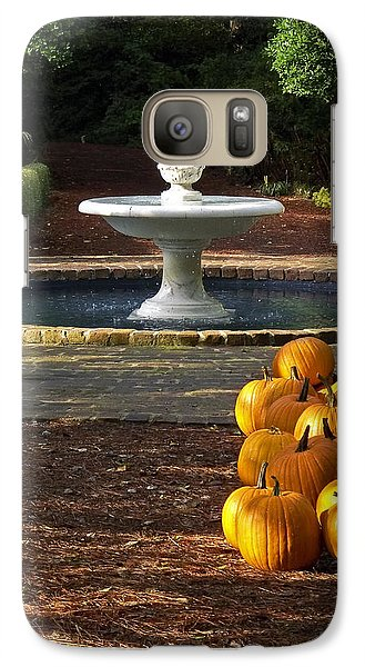 Galaxy Case featuring the photograph Fountain And Pumpkins At The Elizabethan Gardens by Greg Reed