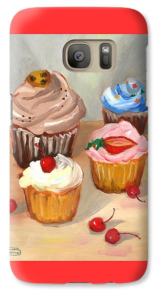 Galaxy Case featuring the painting Four Cupcakes by Susan Thomas