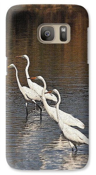 Galaxy Case featuring the photograph Four Egrets Fishing by Tom Janca