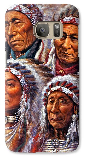 Galaxy Case featuring the painting Four Great Lakota Leaders by Harvie Brown