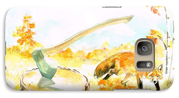 Galaxy Case featuring the painting Fox In Autumn by Andrew Gillette
