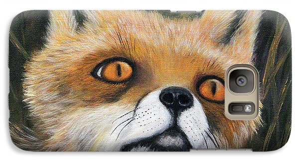 Galaxy Case featuring the painting Fox Stare by Janet Greer Sammons