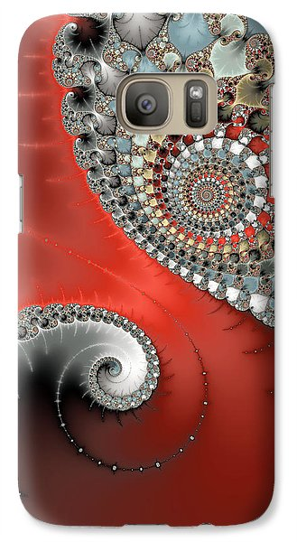 Fractal Spiral Art Red Grey And Light Blue Galaxy S7 Case