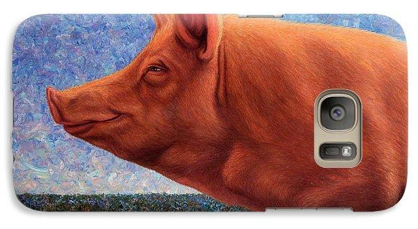 Pig Galaxy S7 Case - Free Range Pig by James W Johnson