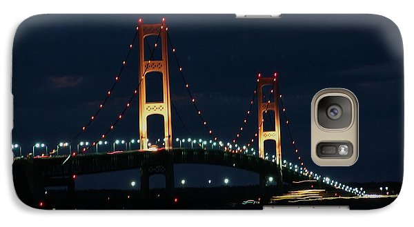 Galaxy Case featuring the photograph Freighter Passes Under Bridge At Night by Bill Woodstock