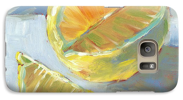 Galaxy Case featuring the painting Fresh Lemons by Pam Talley