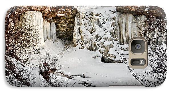 Galaxy Case featuring the photograph Fresh Snowfall At Wequiock Falls by Mark David Zahn Photography