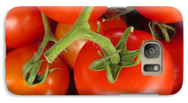 Galaxy Case featuring the photograph Fresh Whole Tomatos On Vine by David Millenheft