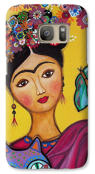 Galaxy Case featuring the painting Frida Kahlo And Her Cat by Pristine Cartera Turkus