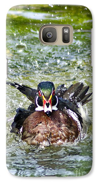 Galaxy Case featuring the photograph Frisky - Wood Duck by Adam Olsen