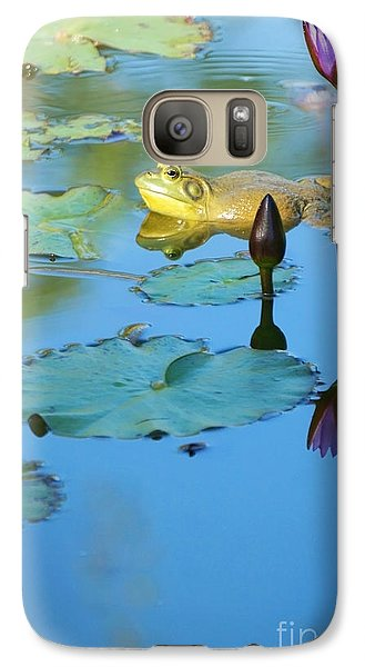 Galaxy Case featuring the photograph Frog And Lily by Ellen Cotton