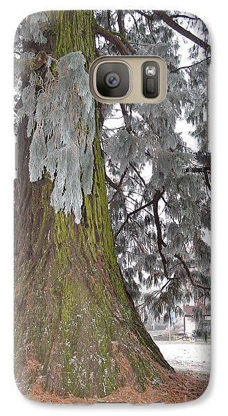 Galaxy Case featuring the photograph Frost On The Leaves by Felicia Tica