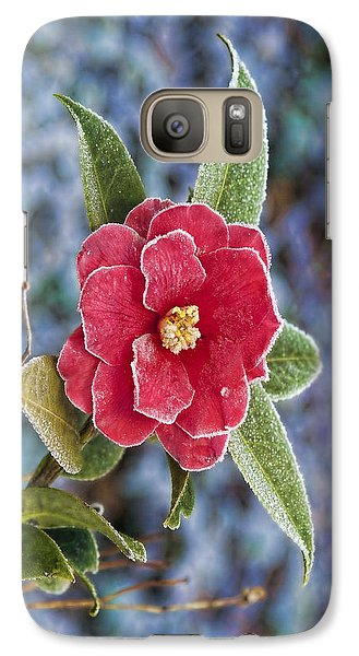 Galaxy Case featuring the photograph Frosty Camellia - Phone Case Design by Gregory Scott