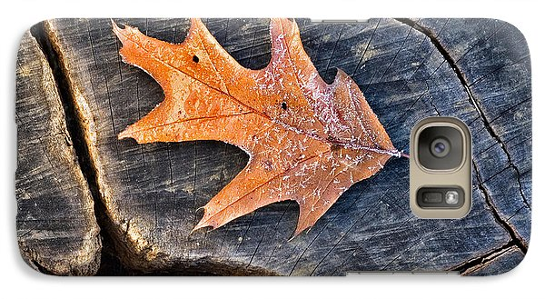 Galaxy Case featuring the photograph Frosty Leaf On Tree Trunk by Gary Slawsky