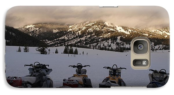 Galaxy Case featuring the photograph Frosty Snowmobiles by Jenessa Rahn