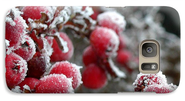 Galaxy Case featuring the photograph Frozen Crimson Close Up by Heidi Manly