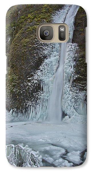 Galaxy Case featuring the photograph Frozen Horsetail Falls 120813a by Todd Kreuter