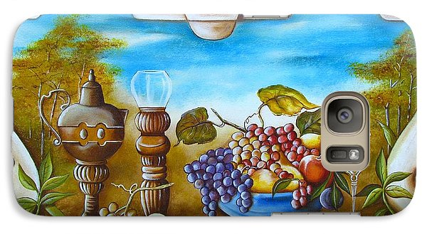 Galaxy Case featuring the painting Fruit And Vino by Joseph Sonday