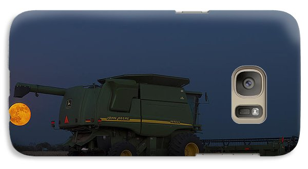 Galaxy Case featuring the photograph Full Moon And Combine by Rob Graham