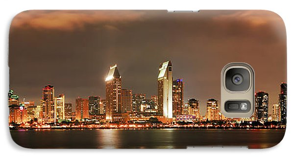 Galaxy Case featuring the photograph Full Moon And San Diego Skyline Panorama by Lee Kirchhevel