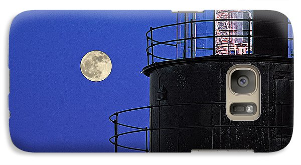 Galaxy Case featuring the photograph Full Moon And West Quoddy Head Lighthouse Beacon by Marty Saccone