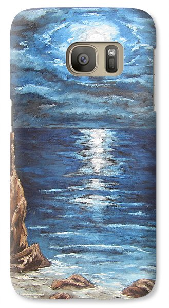 Galaxy Case featuring the painting Full Moon Over Lake Ontario by Cheryl Pettigrew
