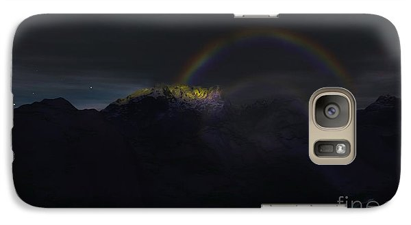 Galaxy Case featuring the painting Full Moon Rainbow by Pet Serrano