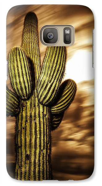 Galaxy Case featuring the photograph Full Moon Saguaro by Anthony Citro