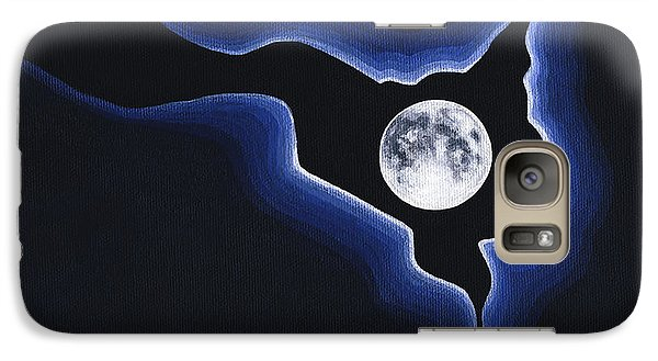 Galaxy Case featuring the painting Full Moon Silver Lining by Janice Dunbar