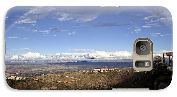 Galaxy Case featuring the photograph Full Rainbow Over Jerome by Ron Chilston