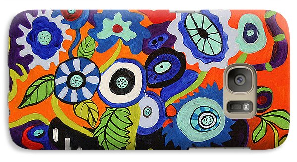 Galaxy Case featuring the painting Funky Flowers 2 by Alison Caltrider